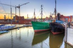 Motlawa river and marina in Gdansk at sunset. Poland Royalty Free Stock Photos