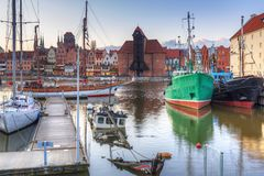 Motlawa river and marina in Gdansk at sunset. Poland Royalty Free Stock Photography