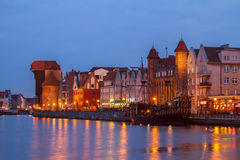 Motlawa river  and old  Gdansk at night Royalty Free Stock Photos