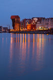Motlawa river  and old  Gdansk at night. Poland Stock Image
