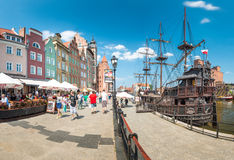 Motlawa river in port of Gdansk, Poland, Europe. Stock Photo