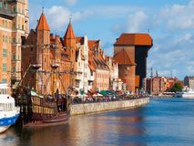 Motlawa riverside in Gdansk Stock Photos