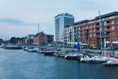 Motlawa riverside in Gdansk. Gdansk, Poland - August 08 2015: View of Motlawa riverside and Marina Club Hotel at the evening time Royalty Free Stock Photography