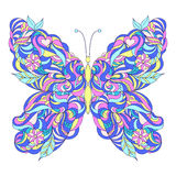 Motley abstract butterfly. On white background.Vector illustration Stock Images