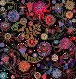Motley abstrakt blom- modell på svart bakgrund royaltyfri illustrationer