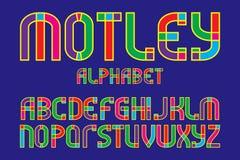 Motley alphabet. Colorful letters font. Isolated english alphabet.  royalty free illustration