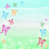 Motley butterflies and white flowers spring background Royalty Free Stock Images