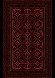 Motley carpet with a burgundy pattern on a black background Stock Images