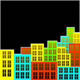 Motley city. Abstract background. Motley city on a black background Stock Photo