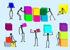 Motley cubes and business team. Vector. 3d motley cubes and business team. Vector illustration Royalty Free Stock Photo