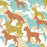 Motley dog breeds seamless pattern. Hand drawn motley dog breeds seamless pattern. All objects are conveniently grouped and are easily editable stock illustration