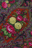 Motley fabric background. Traditional Russian ornament for a female scarf Stock Photography