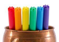 Motley felt tip pen copper bowl isolated gay color Stock Photo