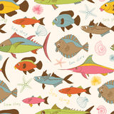 Motley fishes seamless pattern. Motley stylized hand drawn cartoon fishes vector seamless pattern stock illustration