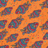 Motley fishes seamless pattern Royalty Free Stock Images