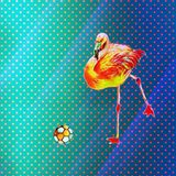 Motley flamingo flapping his foot on the ball, contemporary art collage vector illustration