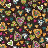 Motley hearts seamless pattern. Hand drawn cartoon motley hearts seamless pattern. Merry endless background Royalty Free Stock Photos