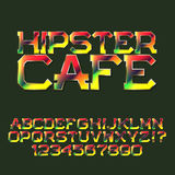 Motley letters and numbers. Festival banner font. Isolated english alphabet with text Hipster Cafe Stock Images