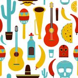 Motley Mexico seamless pattern with traditional Mexican items on white background - tequila, Lucha libre mask, chili stock illustration
