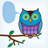 Motley owl with message bubble. Sitting on a tree branch vector illustration
