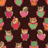 Motley owls seamless pattern Royalty Free Stock Photo