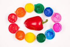 Motley paints and sweet pepper isolated Royalty Free Stock Photography