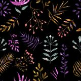 Motley pattern of leaves on a black background Stock Image
