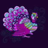 Motley patterned turkey. Clear motley patterned turkey. Perfect for Thanksgivingday design. Can be used separately from background royalty free illustration