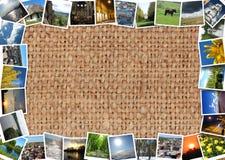 Motley photos on the brown sacking Stock Photography