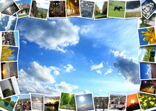 Motley pictures on the blue sky background Stock Photography