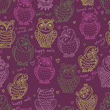 Motley seamles pattern with owls Stock Photography