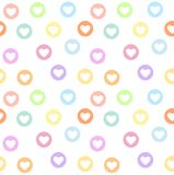 Motley seamless girly pattern with pastel colored heart circles Stock Photo