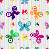 Motley seamless pattern. Motley seamless striped pattern with colorful butterflies vector illustration