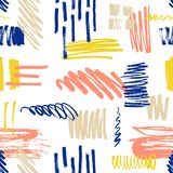 Motley seamless pattern with scribble and paint splotches or smudges on white background. Vibrant backdrop with colorful. Daub. Creative vector illustration in vector illustration