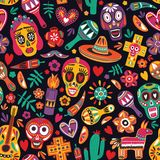 Motley seamless pattern with traditional Mexican Dia de los Muertos decorations on black background. Holiday backdrop vector illustration