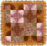 Motley tapestry with grunge striped square and circle elements in yellow,brown,beige colors. Isolated on white vector illustration