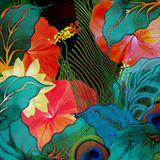 Motley tropical summer floral background. Motley summer floral background oriental royalty free illustration