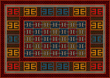 Motley vintage carpet ethnic geometric ornament. In red shades royalty free illustration