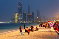 Abu Dhabi's Corniche during MOTN (Mother Of The Nation) Festival Royalty Free Stock Photography