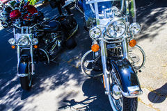 Moto à un salon automobile Photo stock