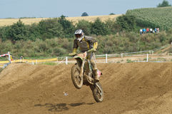 Moto. Cross pilot in action at race Stock Image