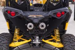 Moto all-terrain. Moto sports ATV 4x4 yellow Royalty Free Stock Photos