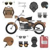 Moto avec des accessoires réglés huile de casques, de sac à dos et de moteur outils, lunettes de soleil, masque et gants Image libre de droits