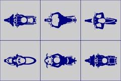 Moto avec l'ensemble d'icône de vue supérieure de cavaliers Photographie stock libre de droits