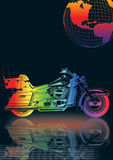 moto avec le globe Photographie stock
