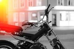 Moto bike in Tromso with light leak background Royalty Free Stock Photo
