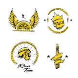 Moto biker theme, icon set. Cafe racer. Golden Royalty Free Stock Image