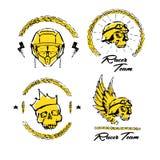 Moto biker theme, icon set. Cafe racer. Golden Stock Photo