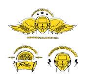 Moto biker theme, icon set. Cafe racer. Golden Royalty Free Stock Photography