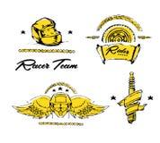 Moto biker theme, icon set. Cafe racer. Golden Royalty Free Stock Images